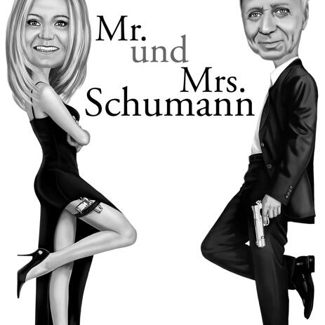 Mr. & Mrs. Smith Caricature Full Body Black and White - example