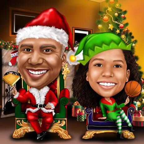 Рождественская карикатура  двух человек в полный рост в образе эльфов - example