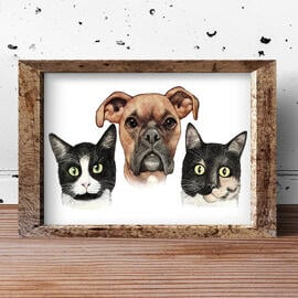 Pets Caricature Printed on Poster