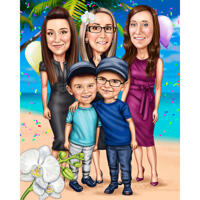 Family Cartoon Caricature Gift in Colored Style with Custom Background for Birthday