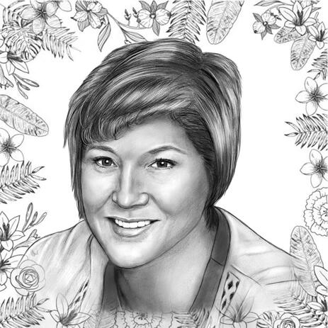 Mothers Day Portrait in Monochrome Pencils Style - example