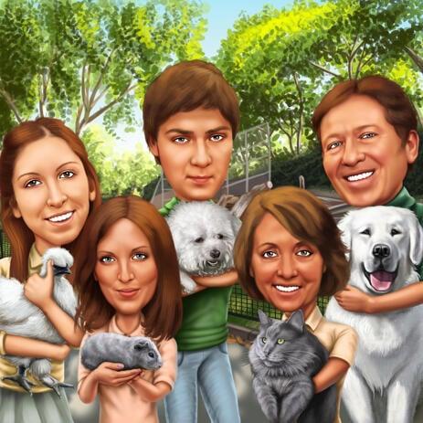 Gruppen-Karikatur aus Fotos in farbigem Digitalstil - example
