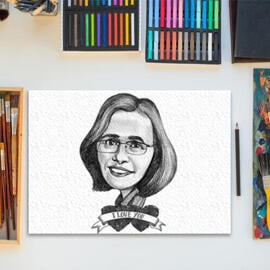 Caricature Drawing of Mother from Photo in Monochrome Pencils Style