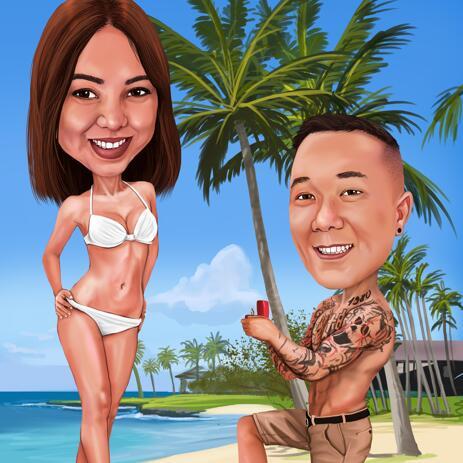 Tarjeta de propuesta con caricatura de pareja para los días de San Valentín. - example