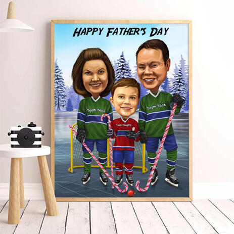 Photo Print: Custom Digital Family Cartoon from Photo on Father's Day - example