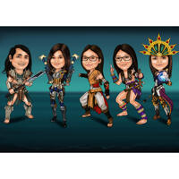 Custom Full Body Superhero Group Cartoon Caricature with One Colored Background