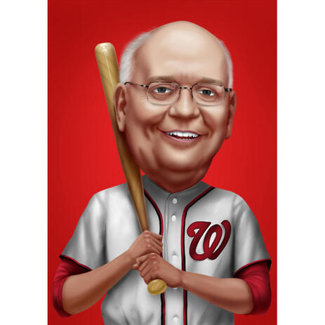 Baseball Caricature from Photos with Single Color Background - example