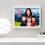 Personalized Photo Print: Custom Cartoon Illustration of Mother in Colored Digital Style