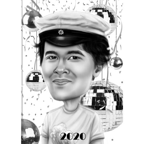 Birthday Captain Cartoon Drawing in Black and White Style for Him - example