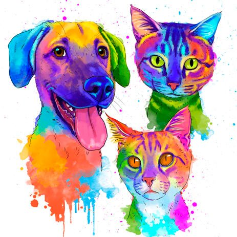 Mixed Pets Watercolor Style Drawing - example