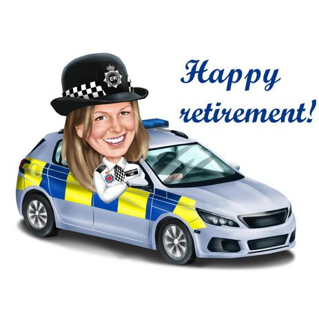 Female Police Officer in Car Caricature in Colored Style for Happy Retirement Gift - example