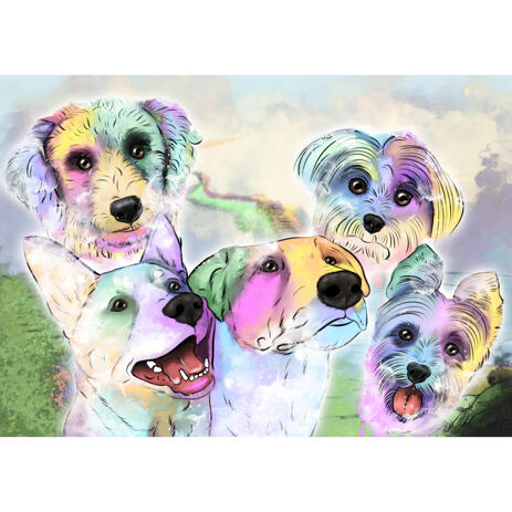 Dogs Crossing Rainbow Bridge - Memorial Dog Portrait in Watercolor Style - example