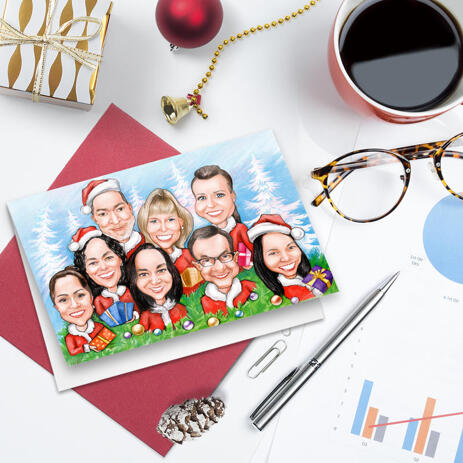 Funny Exaggerated Corporate Christmas Set of 10 Caricature Cards in Color Style from Photos - example