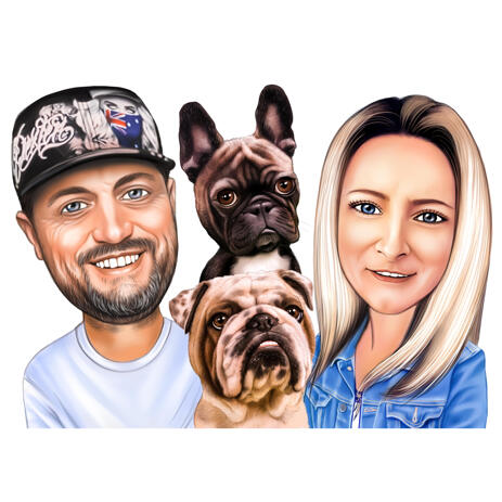 Two Persons with Pets Caricature from Photos - example
