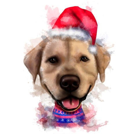 Ugly Christmas Sweaters Dog Portrait in Natural Watercolor Style from Photos - example