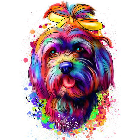 Beautiful Head and Shoulders Bolognese Dog Artist's Impression Portrait from Photos - example