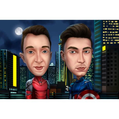 Solo Boys Superhero Caricature with City Background - example