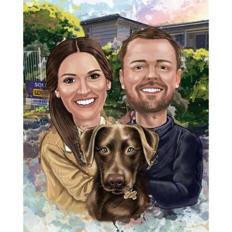 Акварельный портрет пары с домашним животным в натуральных тонах с фоном - example