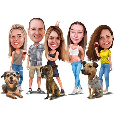 色付きのスタイルでペットと家族の肖像画 - example
