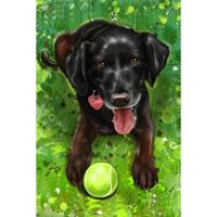 Full Body Dog Cartoon Portrait with Custom Background from Photos