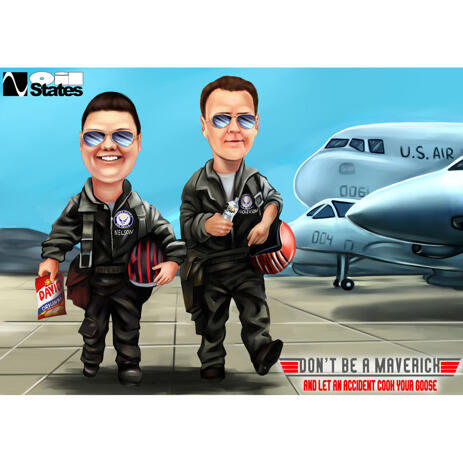 Full Body Pilots Partners Caricature from Photos - example