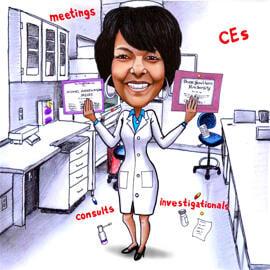 Doctor Karikatur Tegning med Custom Colored Background