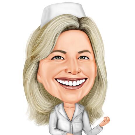 Colored Nurse Caricature Portrait for Custom Nurse Gift - example