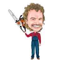 Full Body Worker with Chainsaw Caricature from Photos