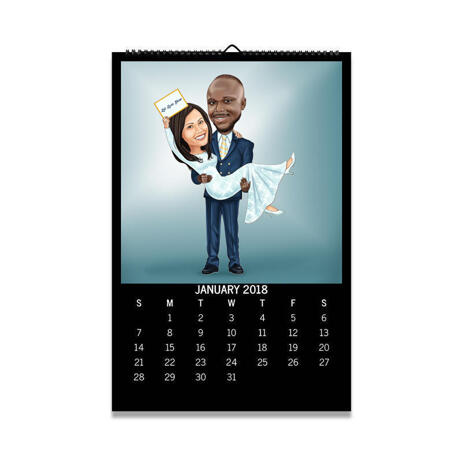 Bride and Groom Cartoon from Photos as Calendar - example