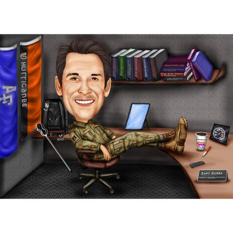 Military Caricature - at Office Desk in Colored Style with Custom Background - example