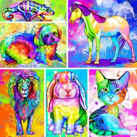 Rainbow Watercolor Full Body Portrait av något husdjur med bakgrund - example
