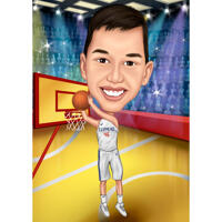 Full Body Basketball Kid High Caricature Portrait with Custom Background