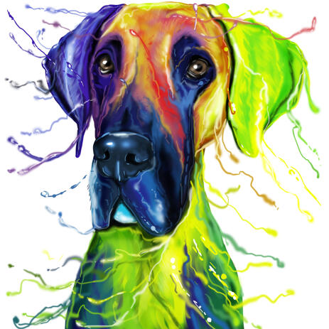 Watercolor Great Dane Caricature Portrait from Photo - example