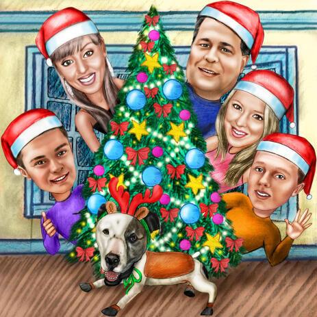 Карикатура семьи вокруг елки в цветном стиле нарисованная с фото - example