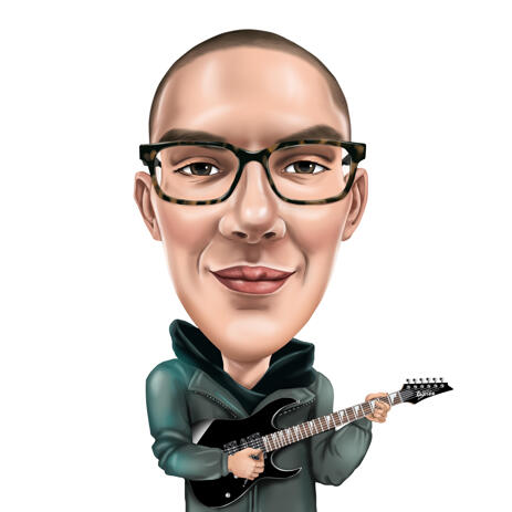 Guitarist Colored Caricature from Photos - example