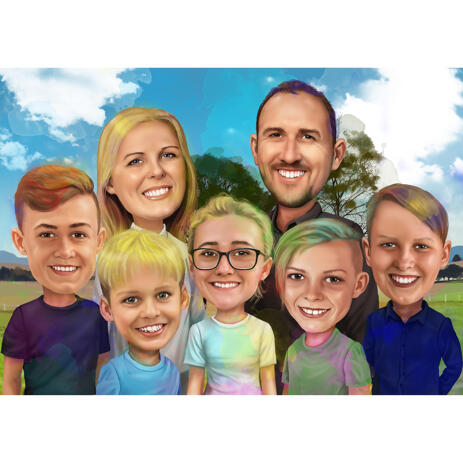 Family Caricature Portrait with Watercolor Splashes - example
