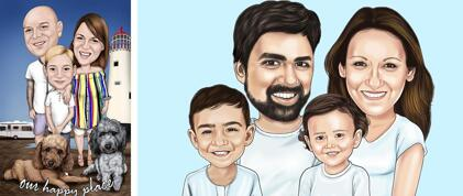 Parents with Kids Caricature