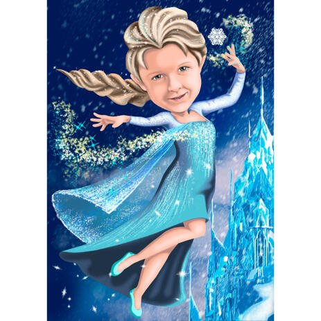 Snow Queen Girl Caricature in Colored Style from Photos with Custom Background - example