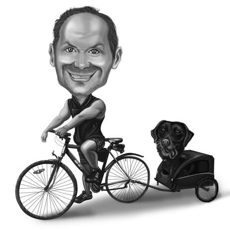 Man on Bicycle with Dog as Black and White Caricature Gift from Photos - example