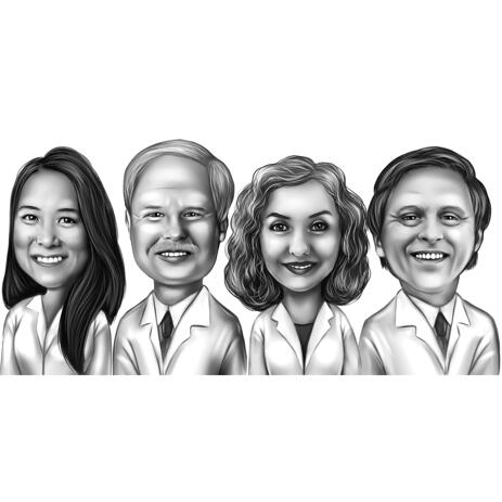 Medical Doctors Group Caricature from Photos in Black and White Style - example