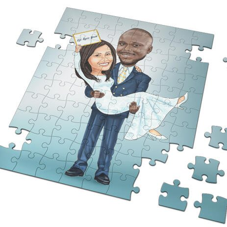 Newlyweds Caricature Drawing as Puzzles - example