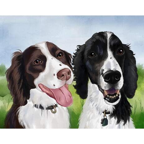 Dogs Portrait Drawing in Artistic Watercolor Style from Photos with Custom Background - example