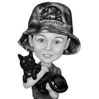 Enfant avec caricature de dessin animé de chat dans un style noir et blanc à partir de la photo