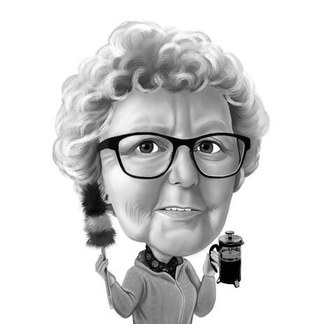 Custom Grandma Cartoon Portrait Drawing in Black and White Style - example