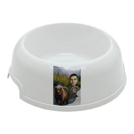 Man with Pet Caricature on Pet Bowl - example