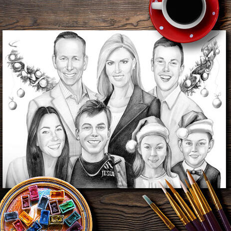Christmas Group Portrait in Black and White Style - Poster Print - example