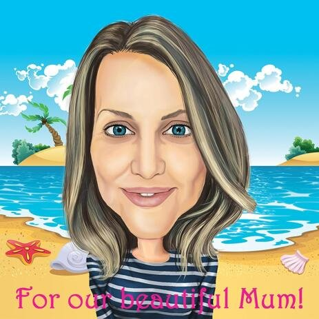 Mum on Vacation Hand Drawn Caricature in Colored Style as Gift Idea for Mother - example