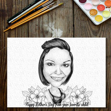 Custom Caricature Drawing: Original Caricature Drawing on Paper - example