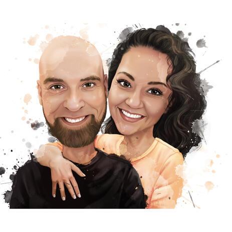 Акварельный портрет пары в естественных цветах - example
