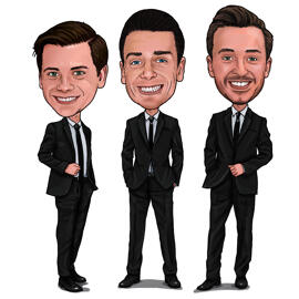 Groomsmen Cartoon från foto i färgad digital stil